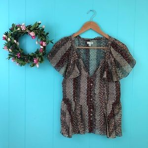 Odille Anthropologie 100% Silk Feather Blouse